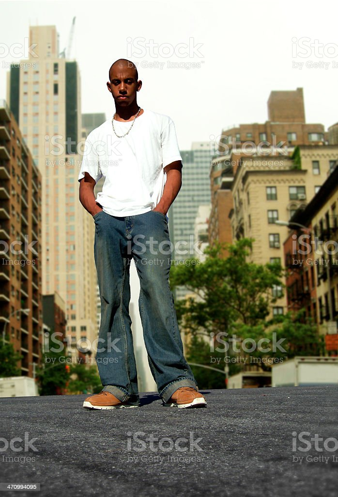 Young black boy in the city (1 of 2) royalty-free stock photo