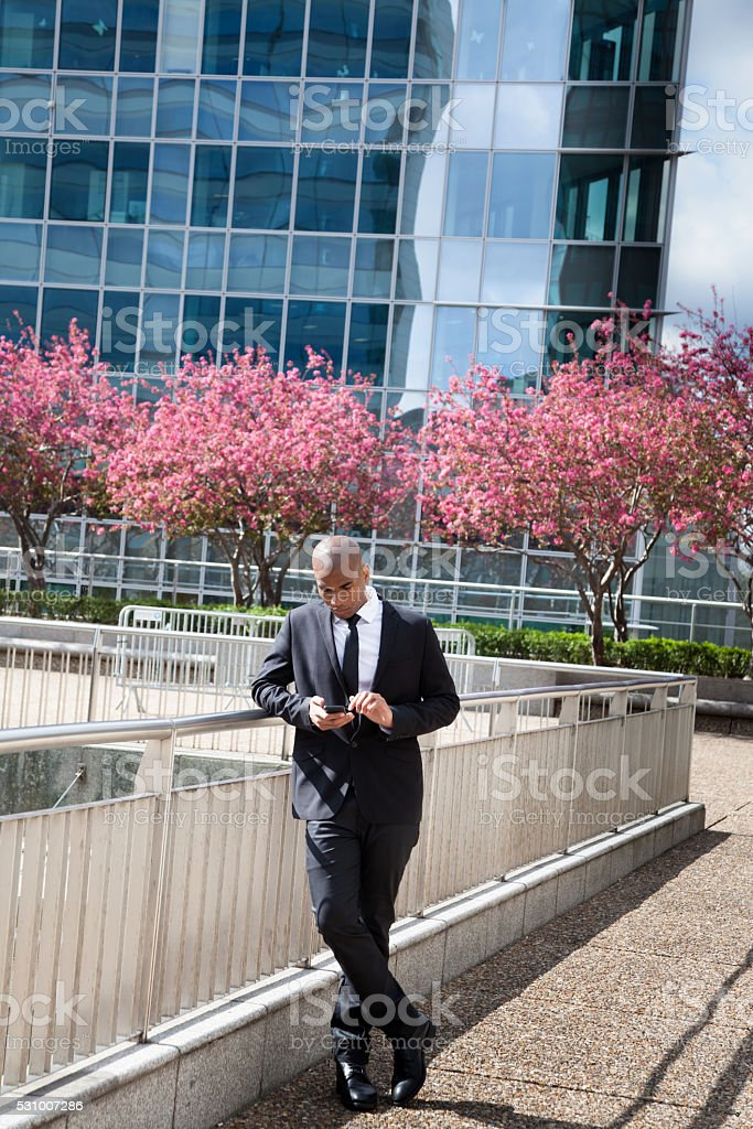 young black businessman checks online communications cherry blossom financial district stock photo