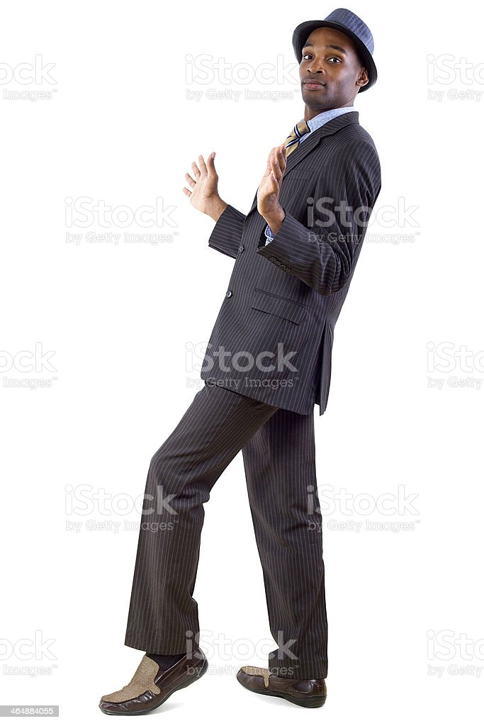 Young Black Businessman in a Defensive Gesture stock photo