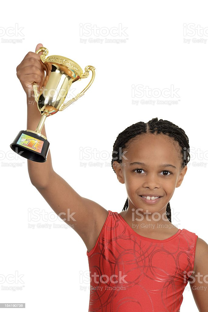 Young black child with gymnastics trophy stock photo