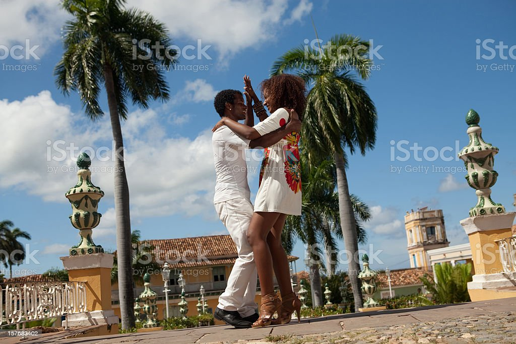 Young black couple dancing salsa stock photo