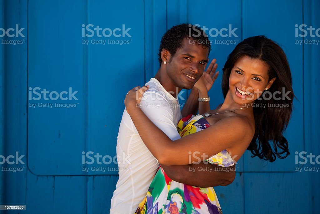 Young black couple dancing salsa royalty-free stock photo