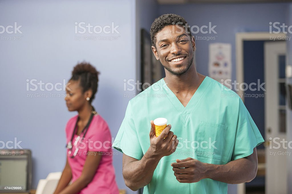 Young Black Doctor with Medicine royalty-free stock photo