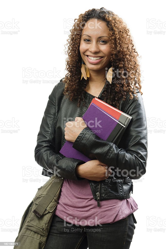 Young Black Female Teen Student with Book Bag royalty-free stock photo