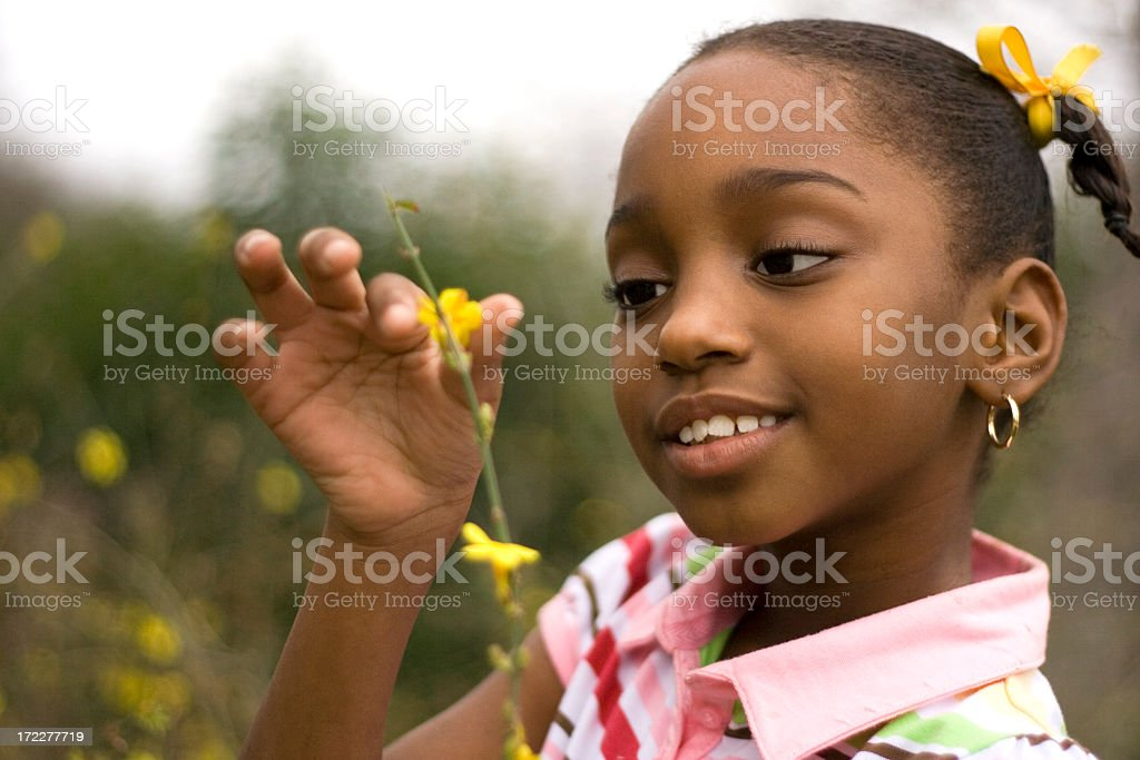 Young black girl picking a tiny yellow flower of a branch stock photo