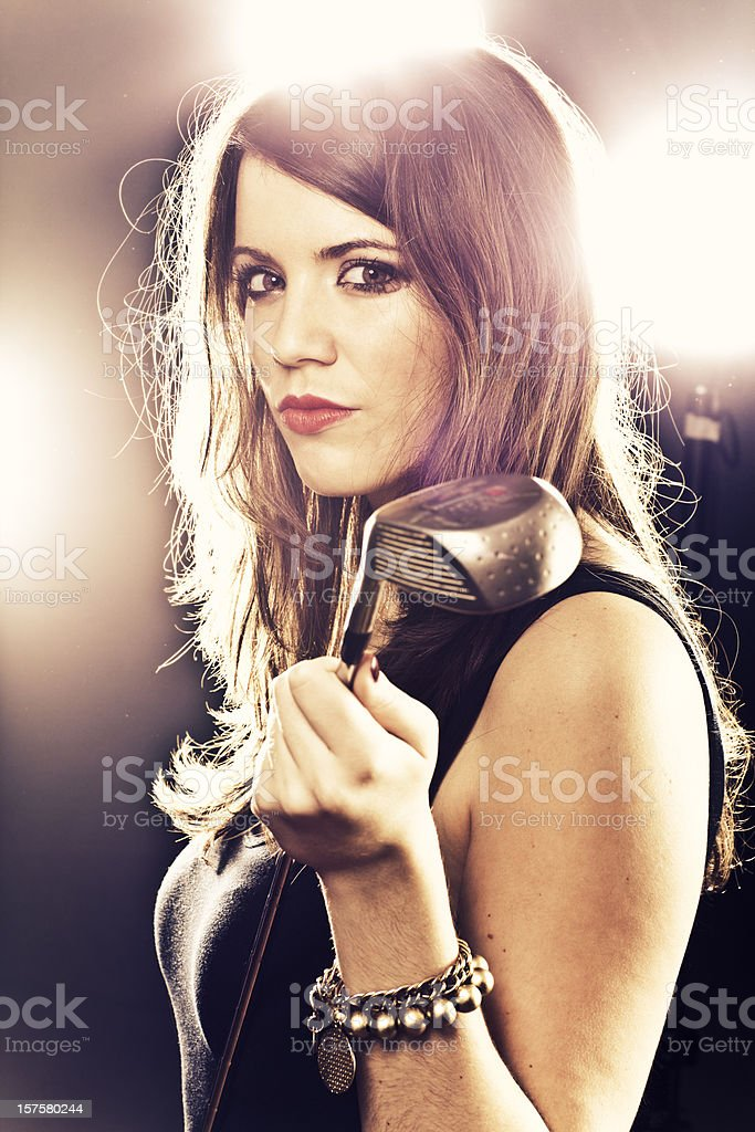 young black hair beauty, golf woman, portrait, indoor royalty-free stock photo