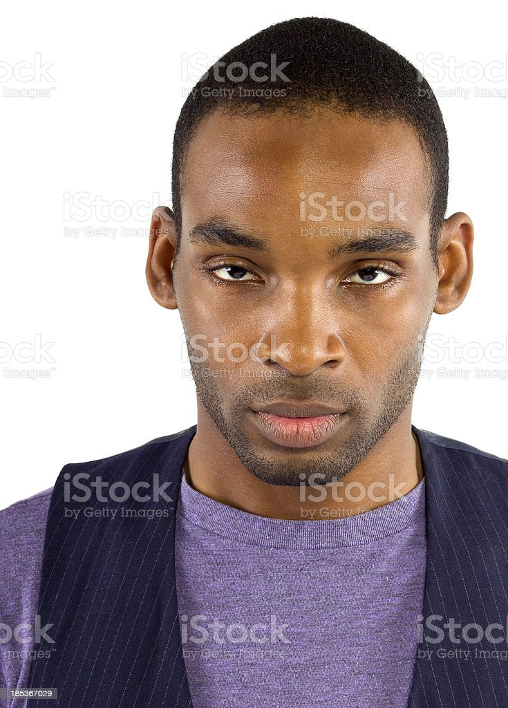 Young black male isolated on a white background royalty-free stock photo
