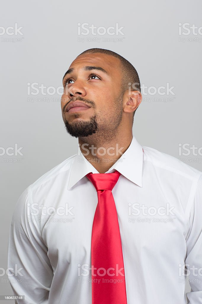 Young black man looking up royalty-free stock photo