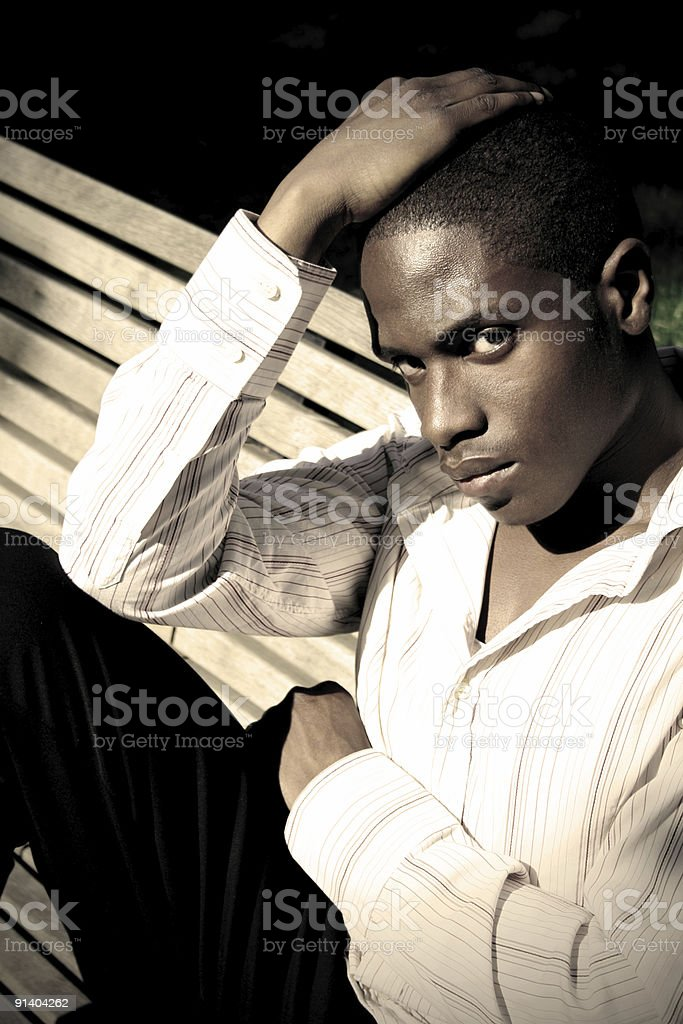Young Black Man on Bench royalty-free stock photo