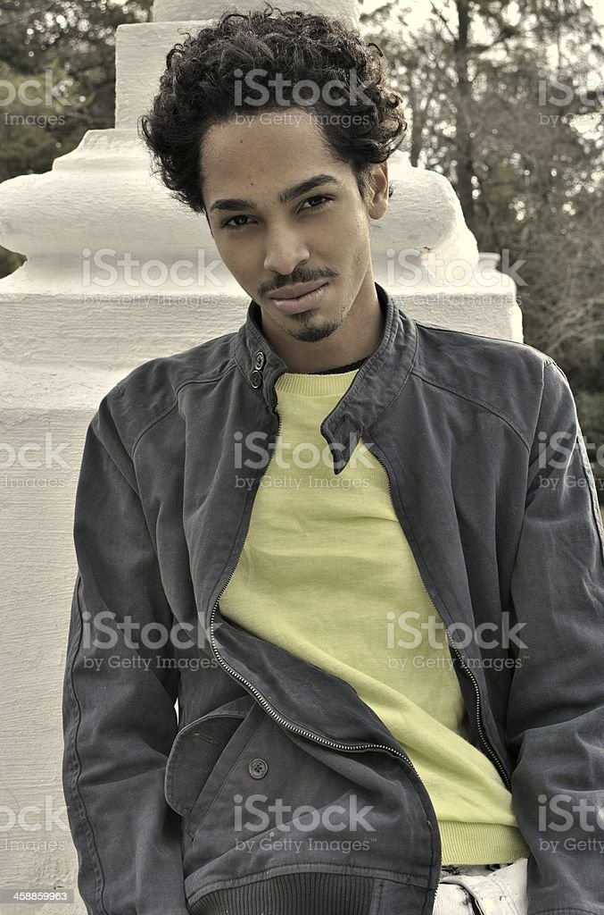 young black man posing for the camera stock photo