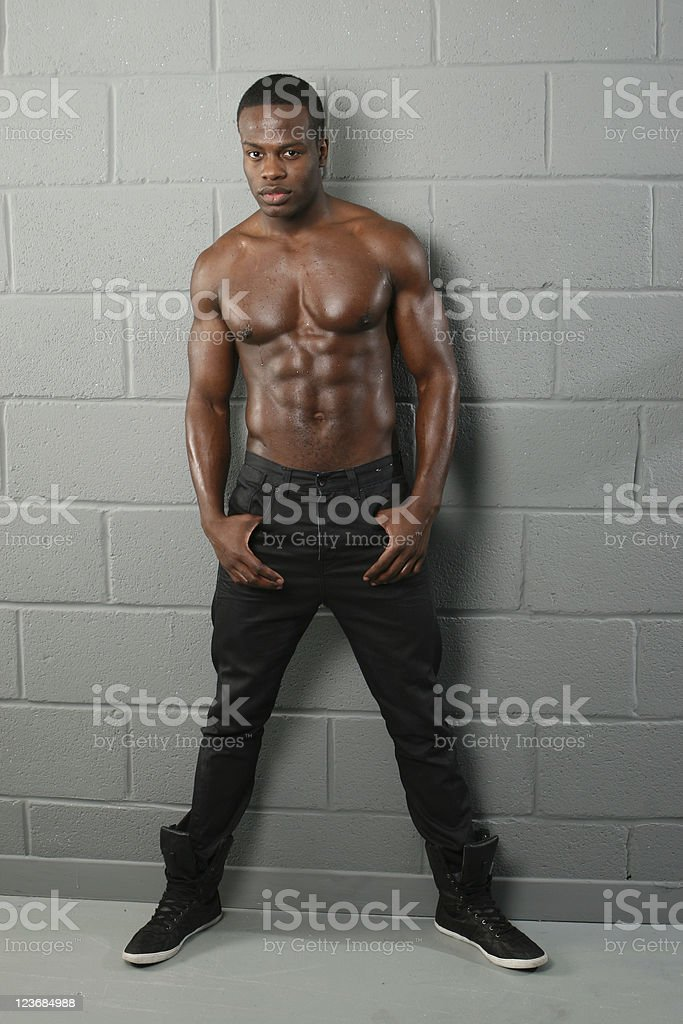 Young black muscular shirtless male royalty-free stock photo
