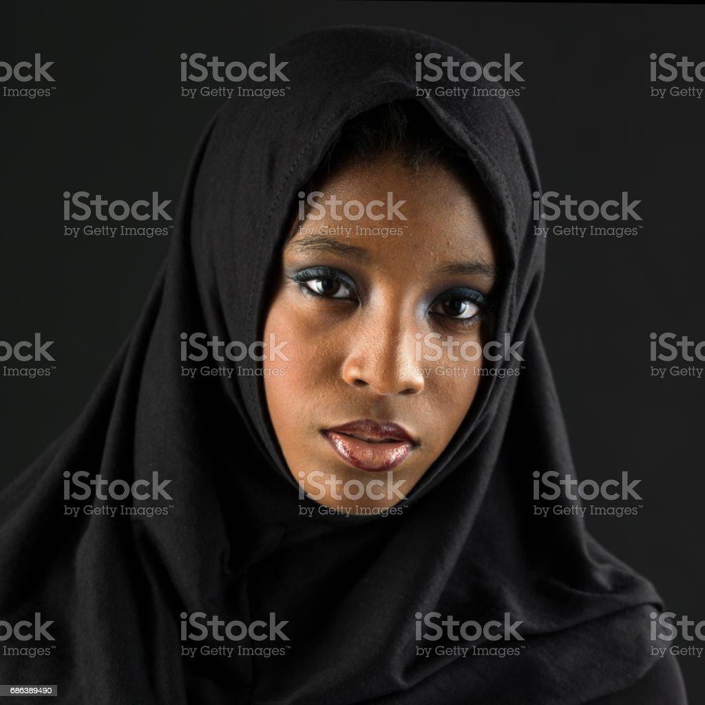 young black muslim woman stock photo