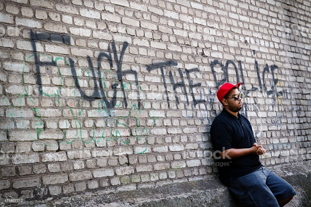 Young black thug on the corner royalty-free stock photo