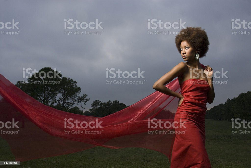 Young black woman in red dress royalty-free stock photo