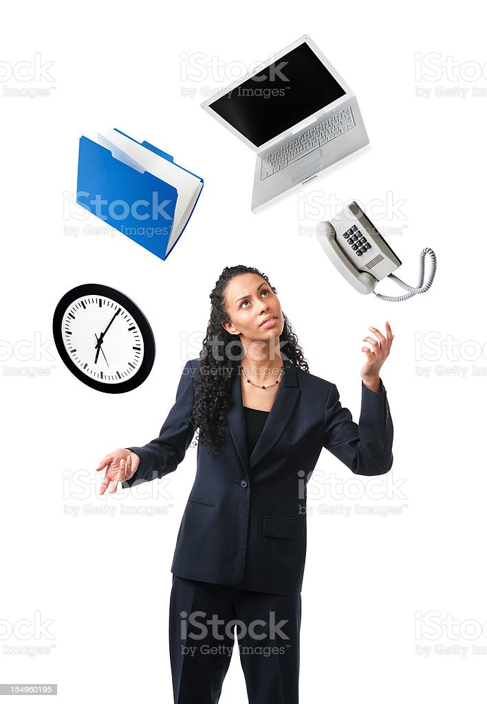 Young Black Woman Juggling, Multi-tasking Time, Occupation, Business, Work Stress stock photo