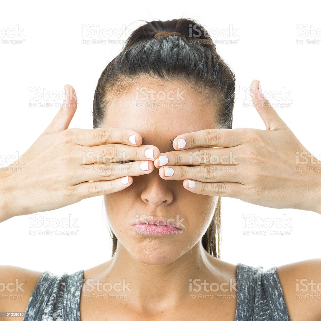 young blind woman stock photo