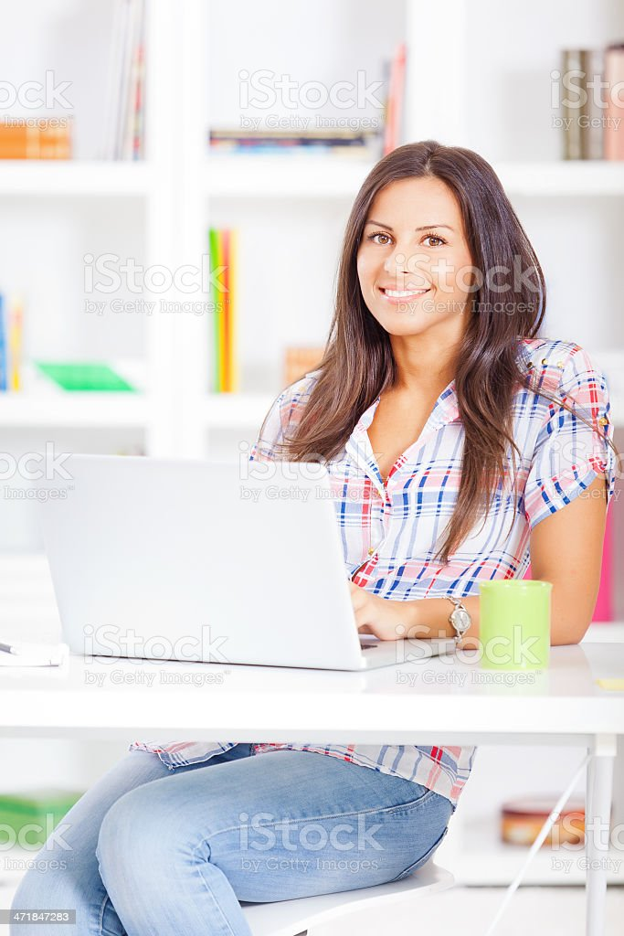 Young blogger working from home royalty-free stock photo