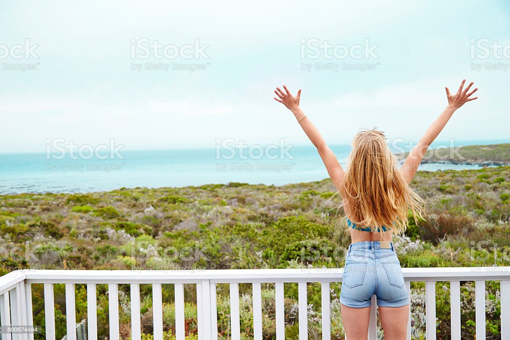 Young blond enjoying view stock photo
