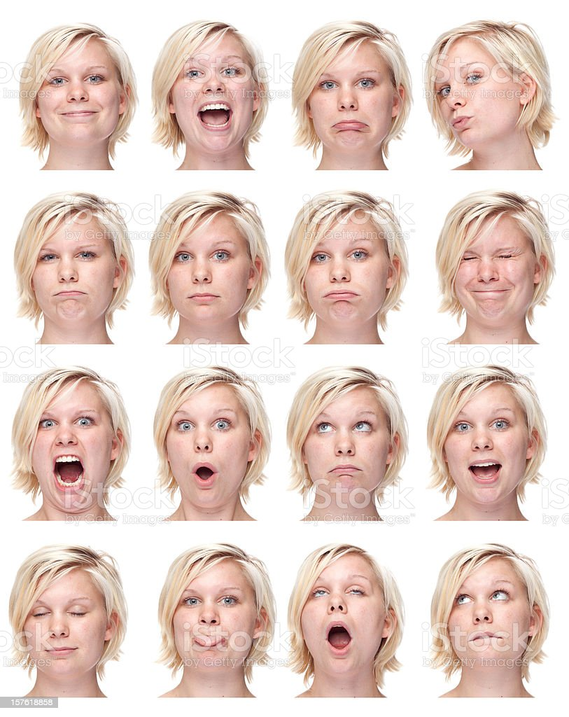 young blond girl short hair face expression collection white isolated royalty-free stock photo
