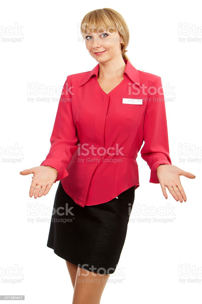 young blond woman consultant welcomes stock photo