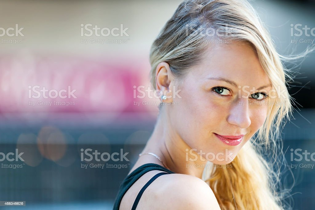 Young blond woman portrait stock photo