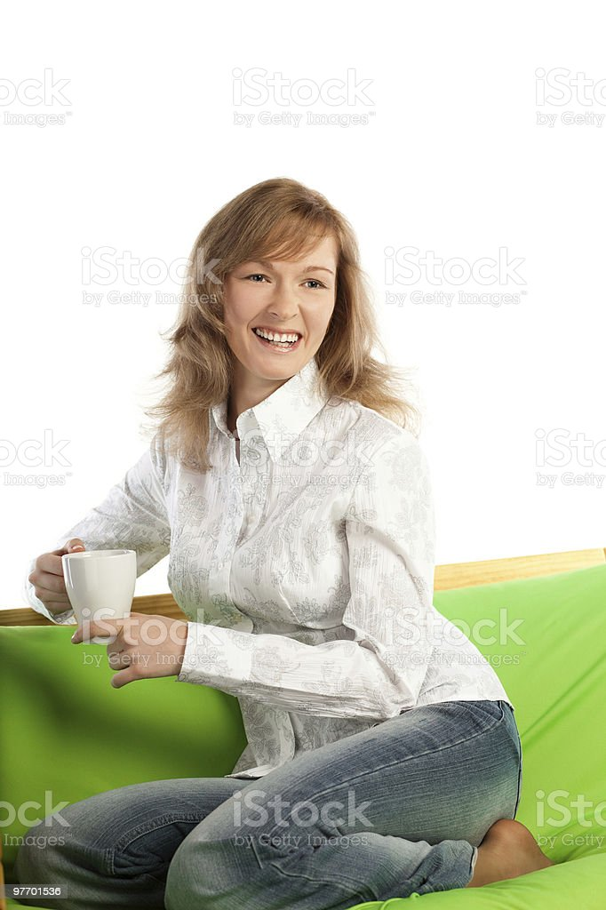 Young blond woman smiles royalty-free stock photo