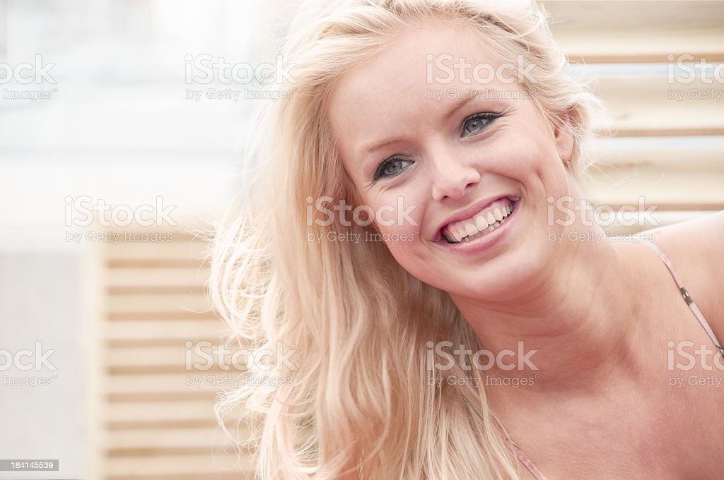 Young Blond Woman Smiling royalty-free stock photo