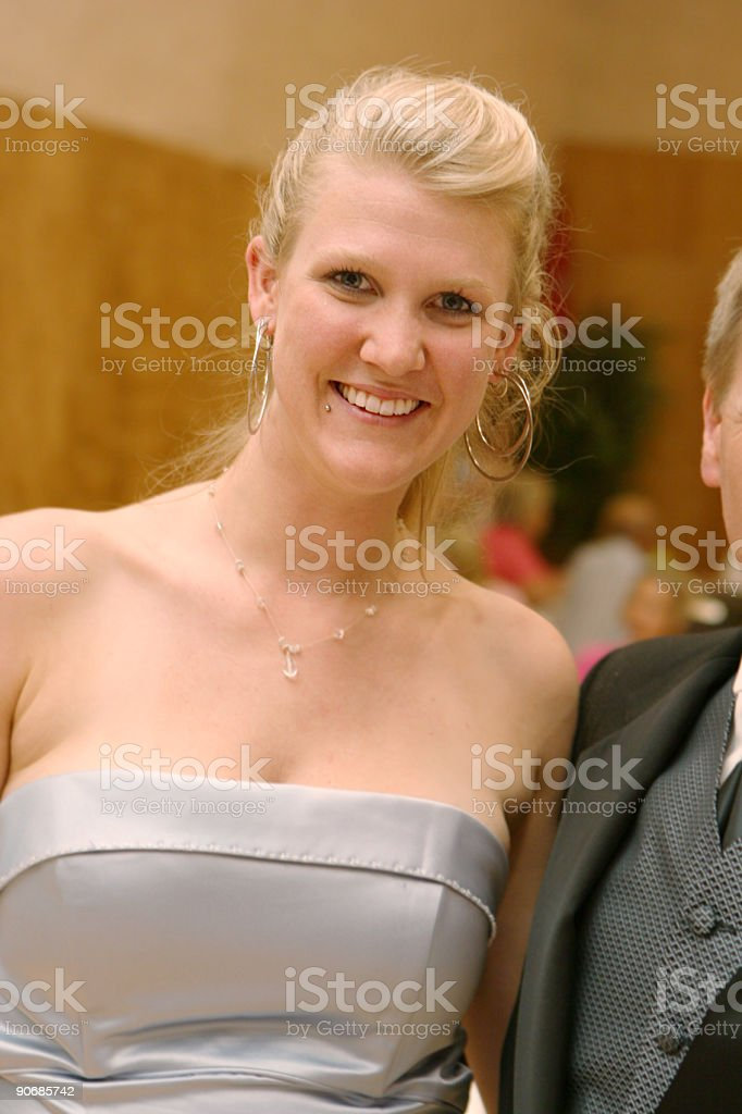 Young Blonde at Wedding Reception royalty-free stock photo