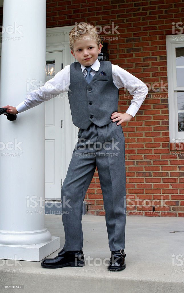 Young Blonde Boy Suit and Tie Church Wedding royalty-free stock photo