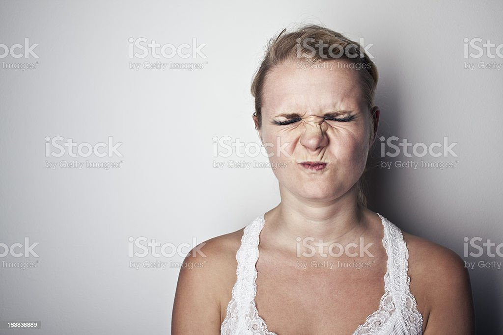 young blonde eyes shut stock photo