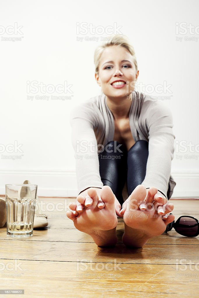 young blonde happy candid woman indoor royalty-free stock photo