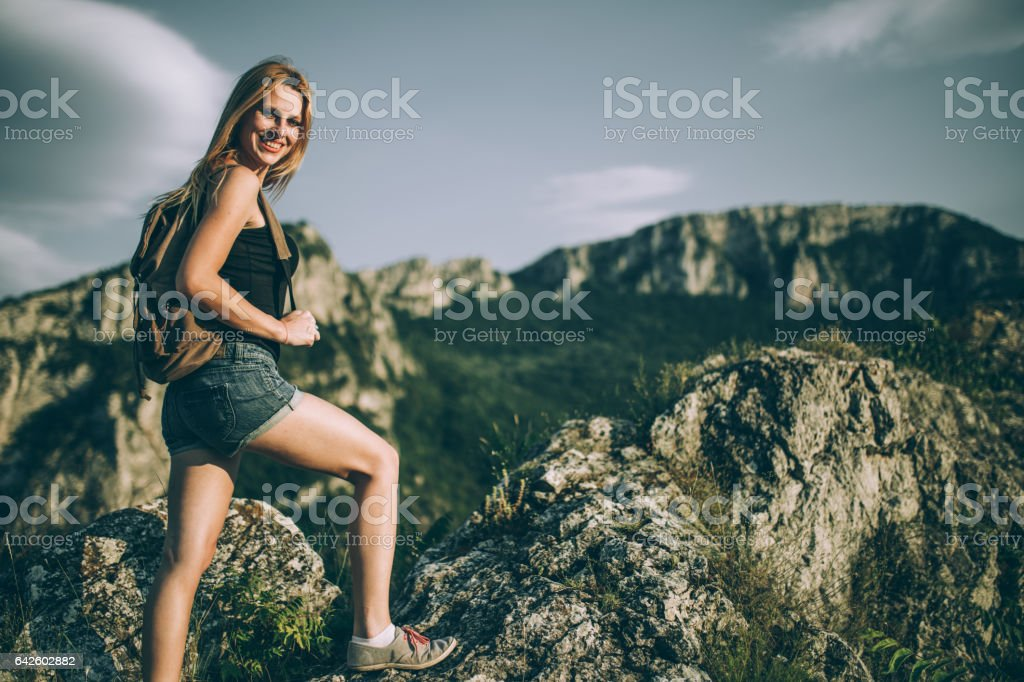 Young blonde hiker stock photo