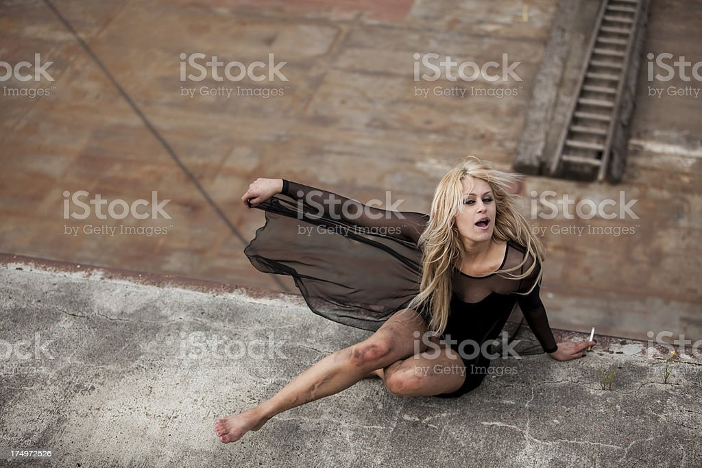 young blonde rock chick outdoor stock photo