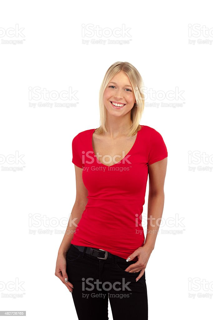 Young blonde smiling girl in plain red shirt - isolated stock photo
