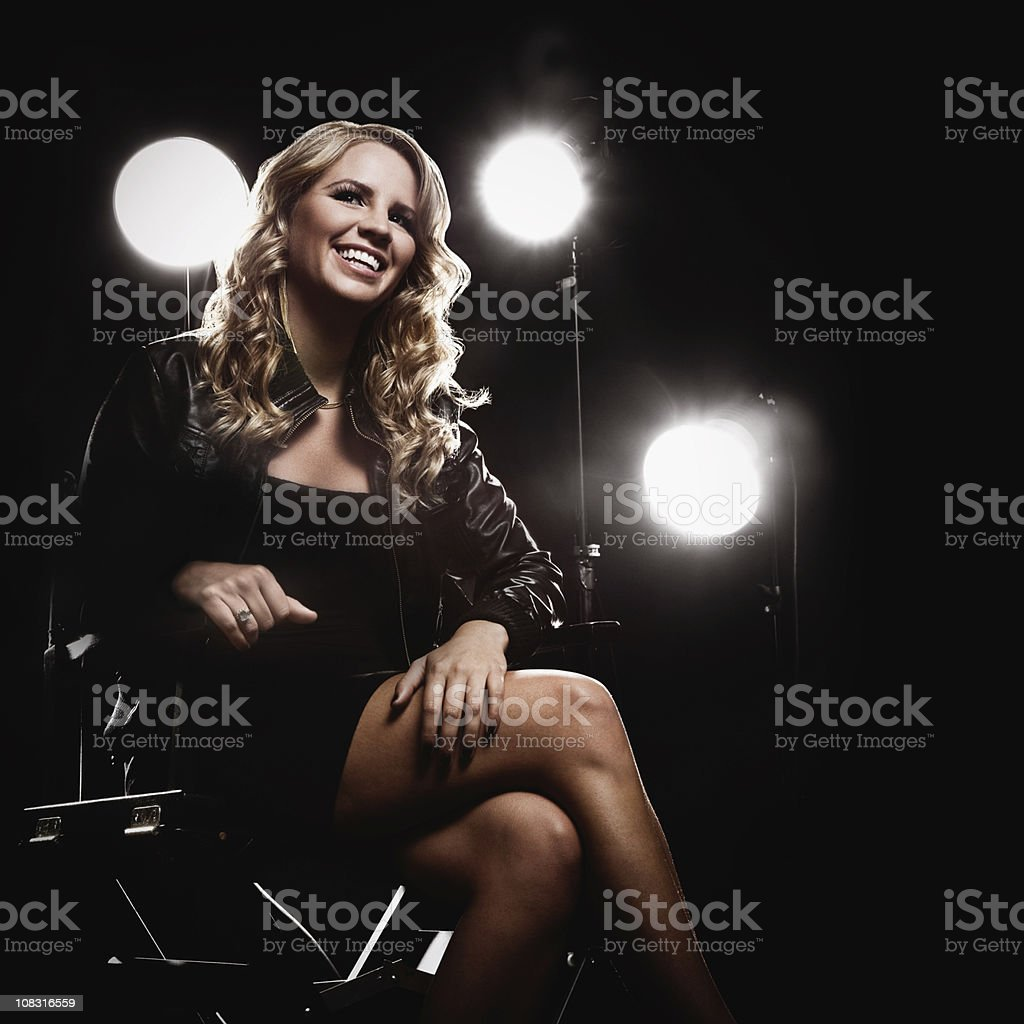 Young Blonde Woman on a Movie Set stock photo