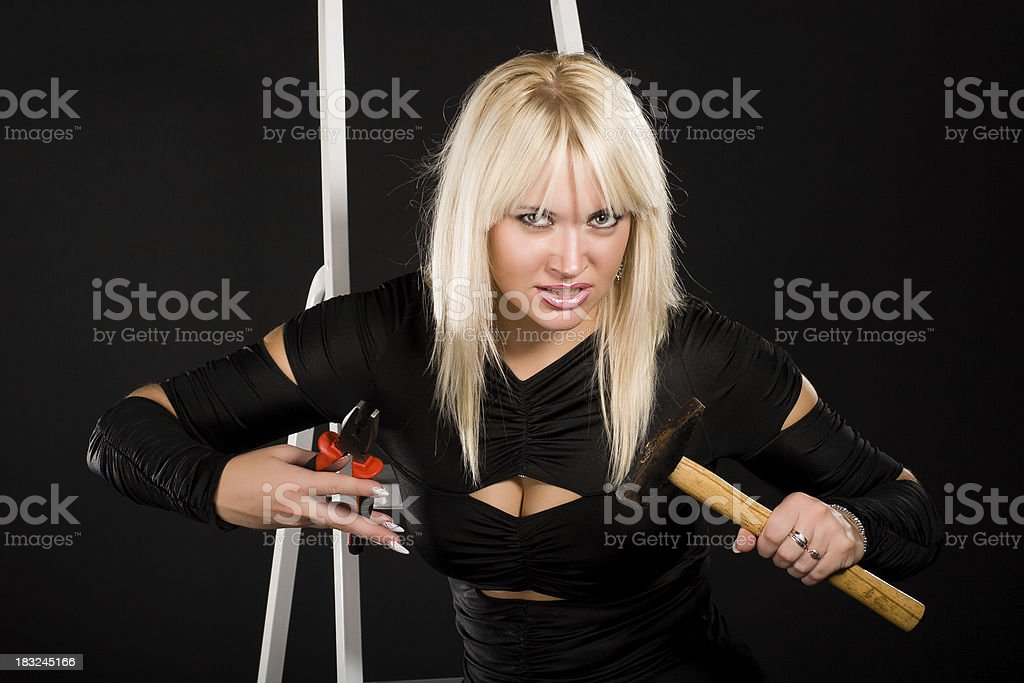Young blonde woman stock photo