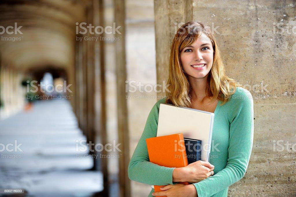 Young Blonde Woman University Student stock photo