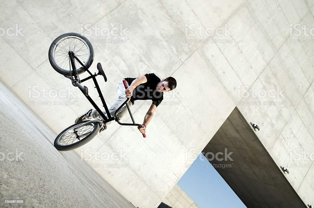 Young BMX bicycle rider royalty-free stock photo