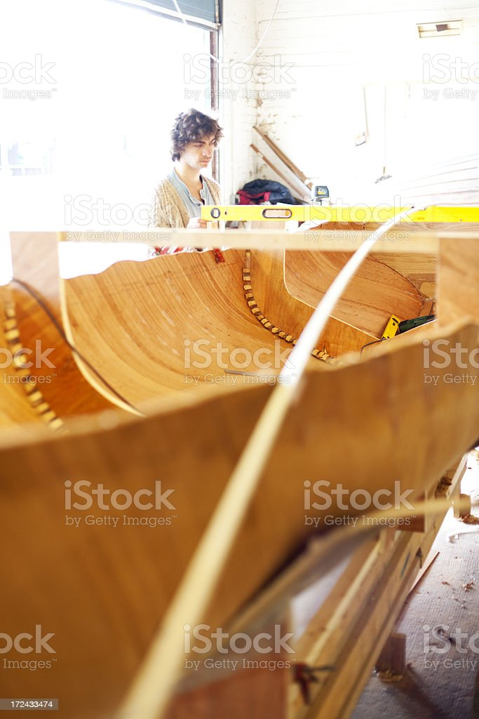 Young boat builder royalty-free stock photo