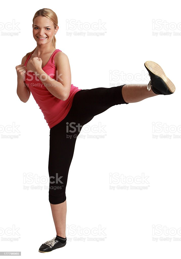 Young Bonde Woman Kickboxing stock photo