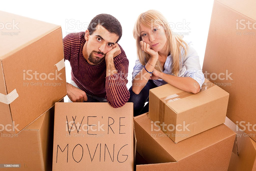 Young Bored Couple during Relocation royalty-free stock photo