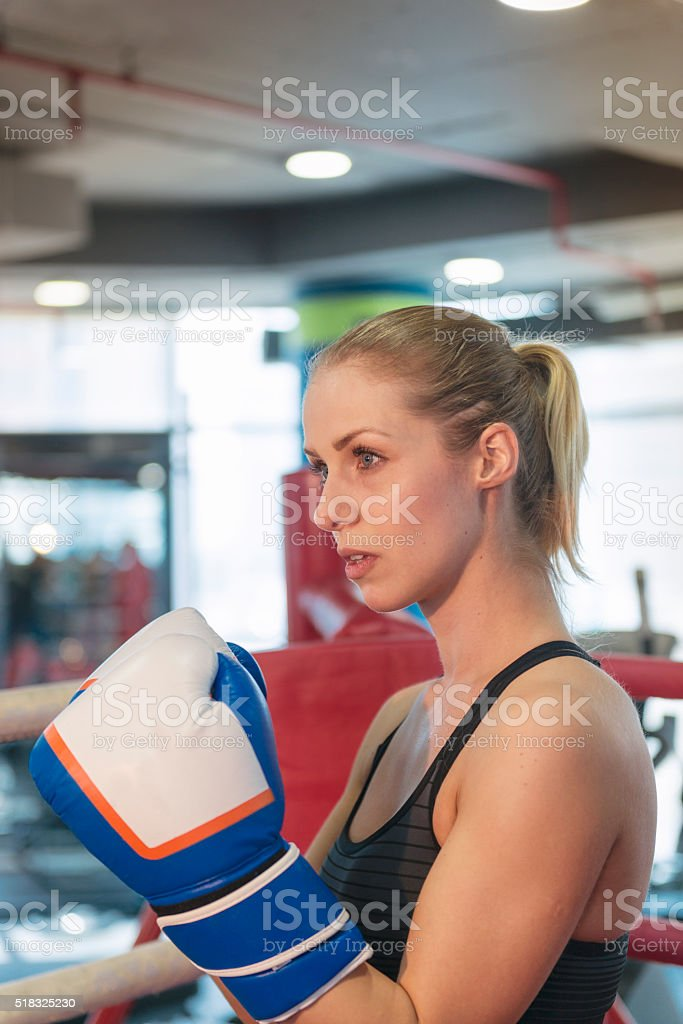 Young boxer girl stock photo