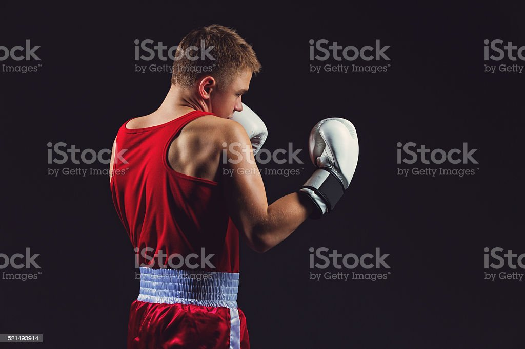Young boxer in red form stock photo