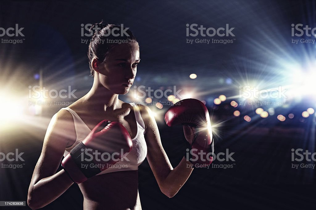 Young boxer woman stock photo
