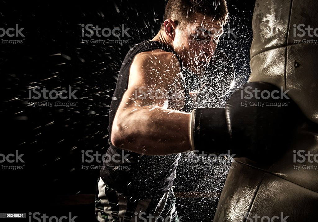 Young boxing man stock photo
