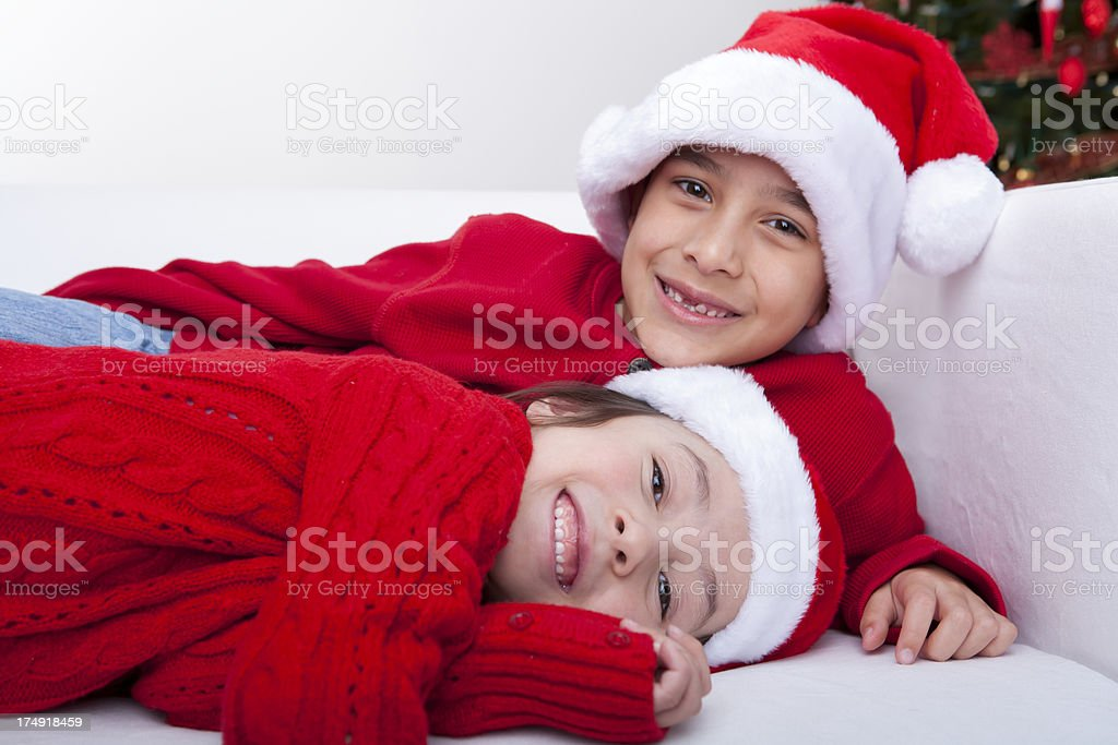 Young boy and girl bonding during Christmas break royalty-free stock photo