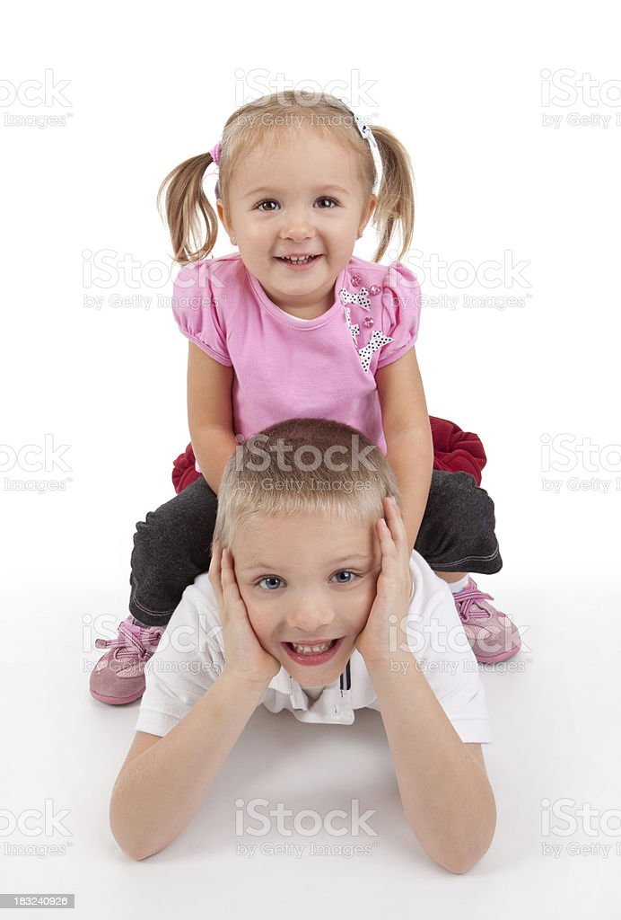 Young Boy And Girl Happy Together royalty-free stock photo