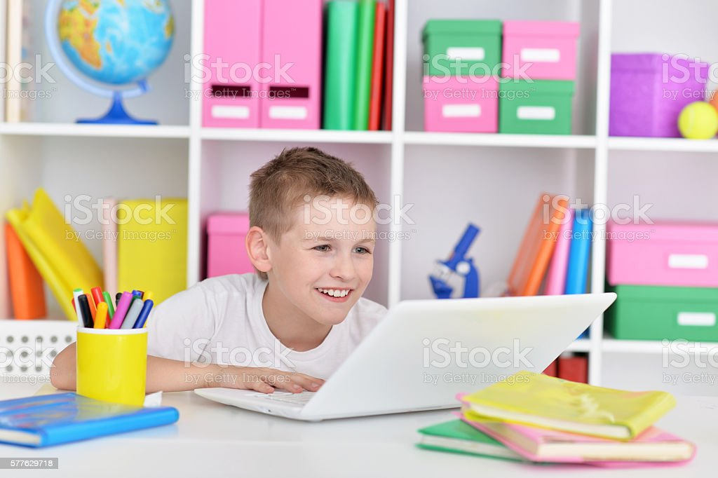 Young boy and  laptop computer stock photo
