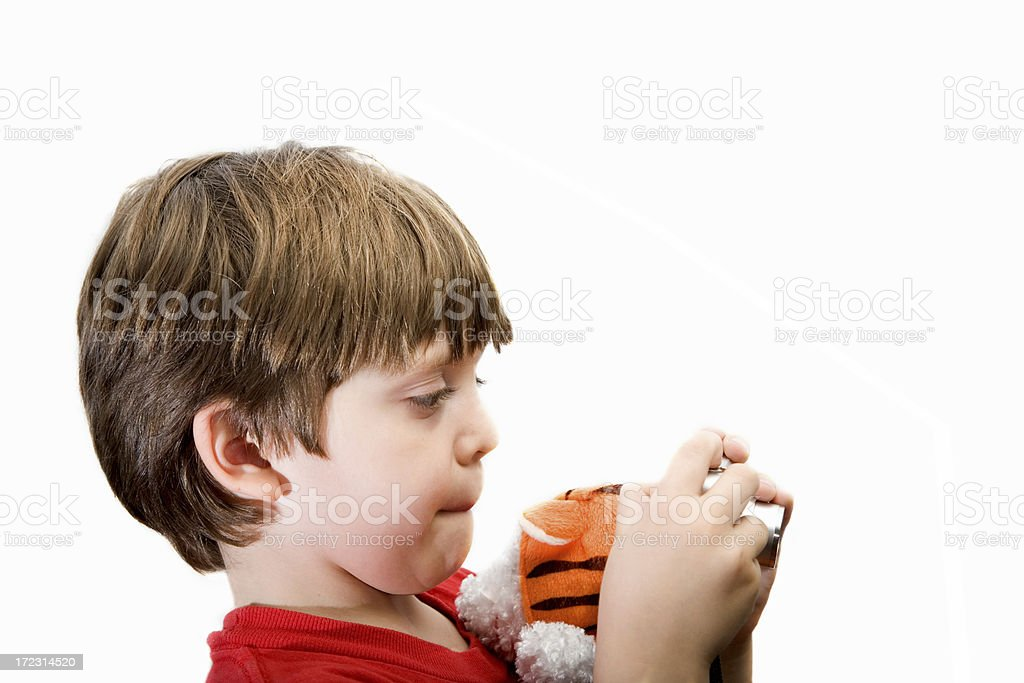 Young boy and small camera stock photo