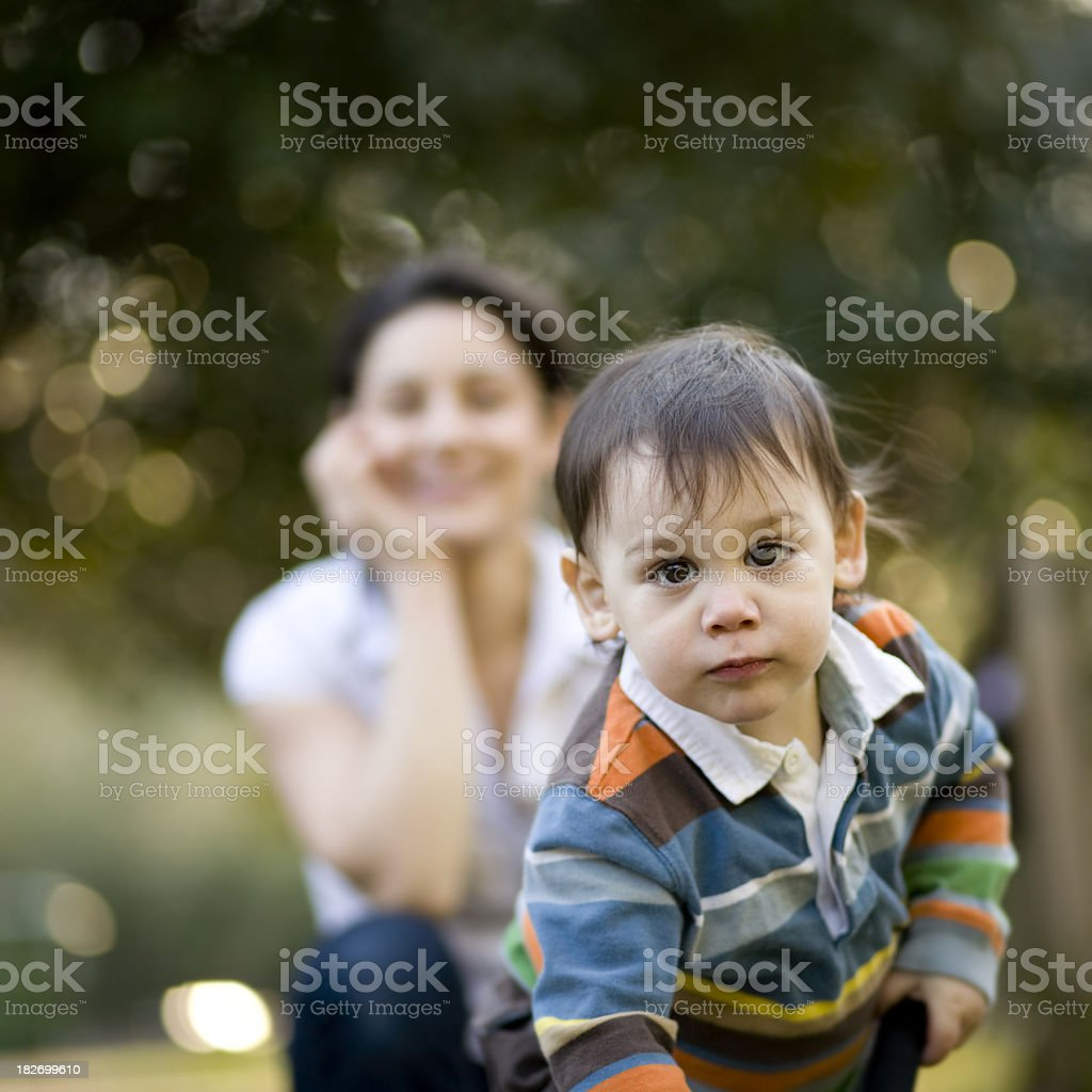 Young boy and woman royalty-free stock photo